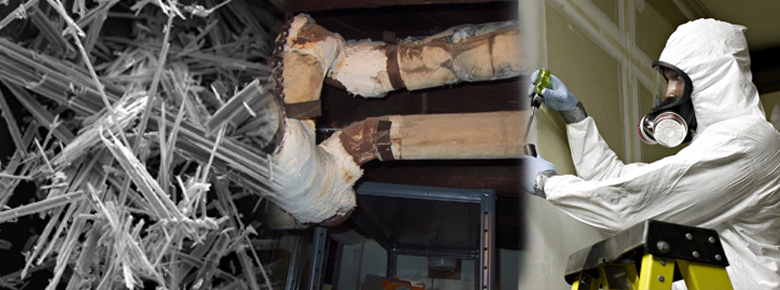 Image of a worker doing asbestos inspection